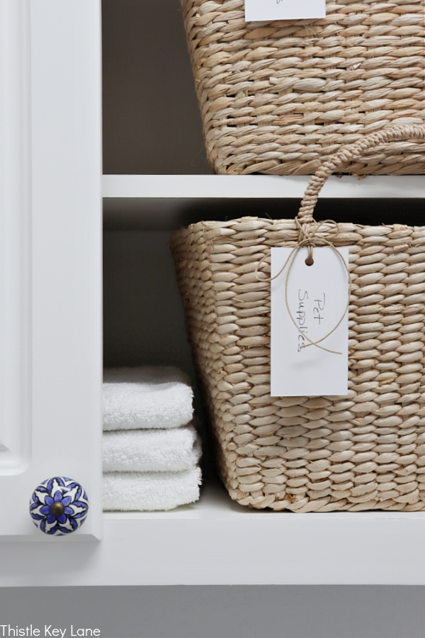 Handmade tags for storage basket - Laundry Room Organizing Ideas.