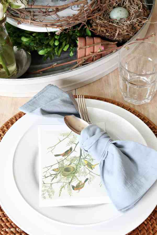 Bird print sitting on a plate with a blue napkin. Spring Bird Theme Inspired Centerpiece.