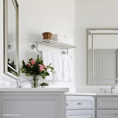 White And Gray Bathroom Makeover Reveal