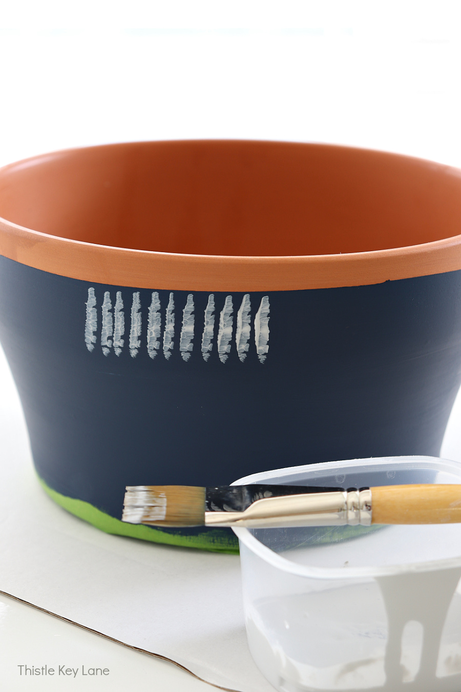 Technique used to paint terracotta pot.