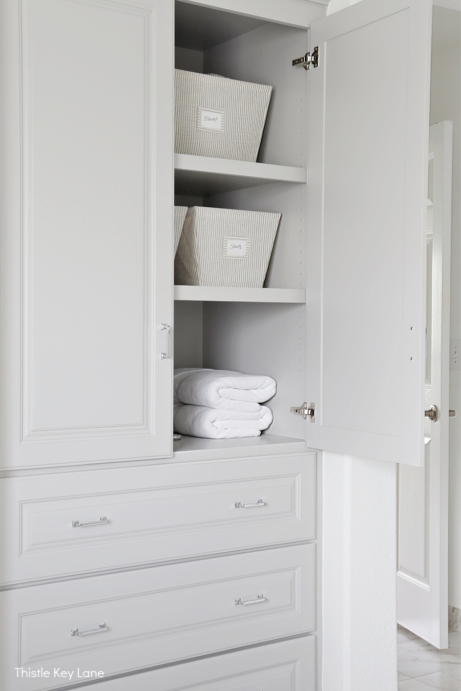 Bathroom storage cabinet. Organizing A Master Bathroom Linen Closet.