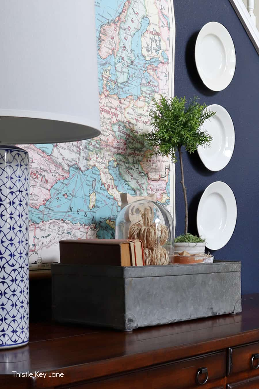 Zinc metal box with fall decor on an entry table. Fall Home Tour With Neutral Colors.