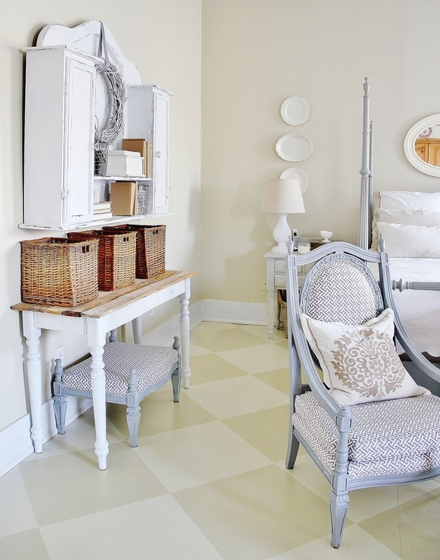 This checkerboard painted floor is budget friendly and easy.