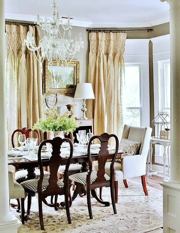 drop cloth drapes in the dining room