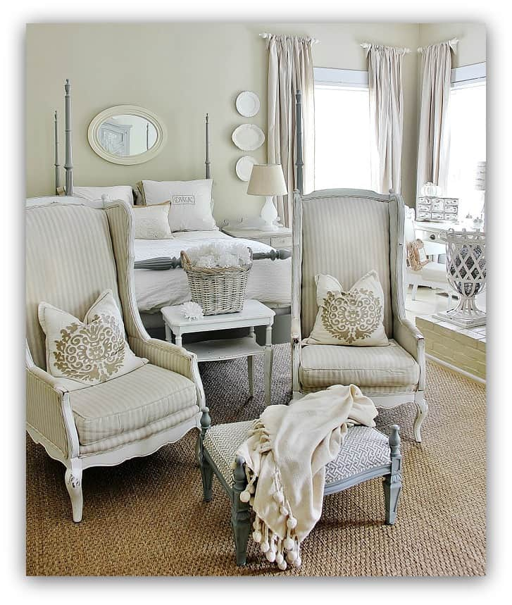 This fall bedroom is light and elegant with shades of white.