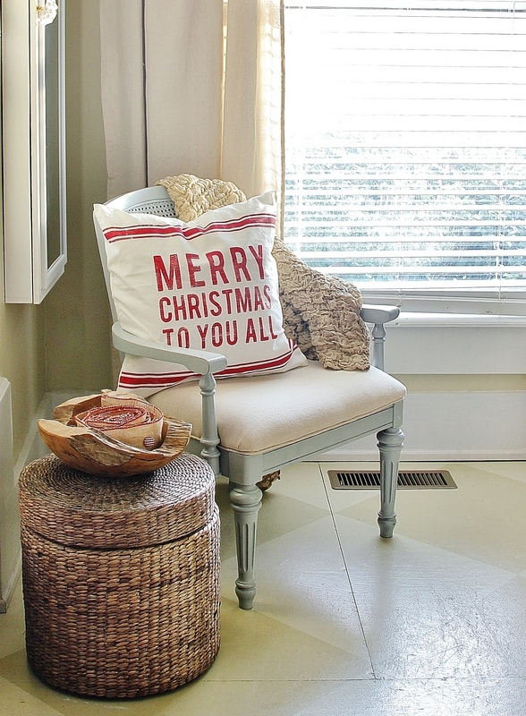 Red and white Christmas pillow