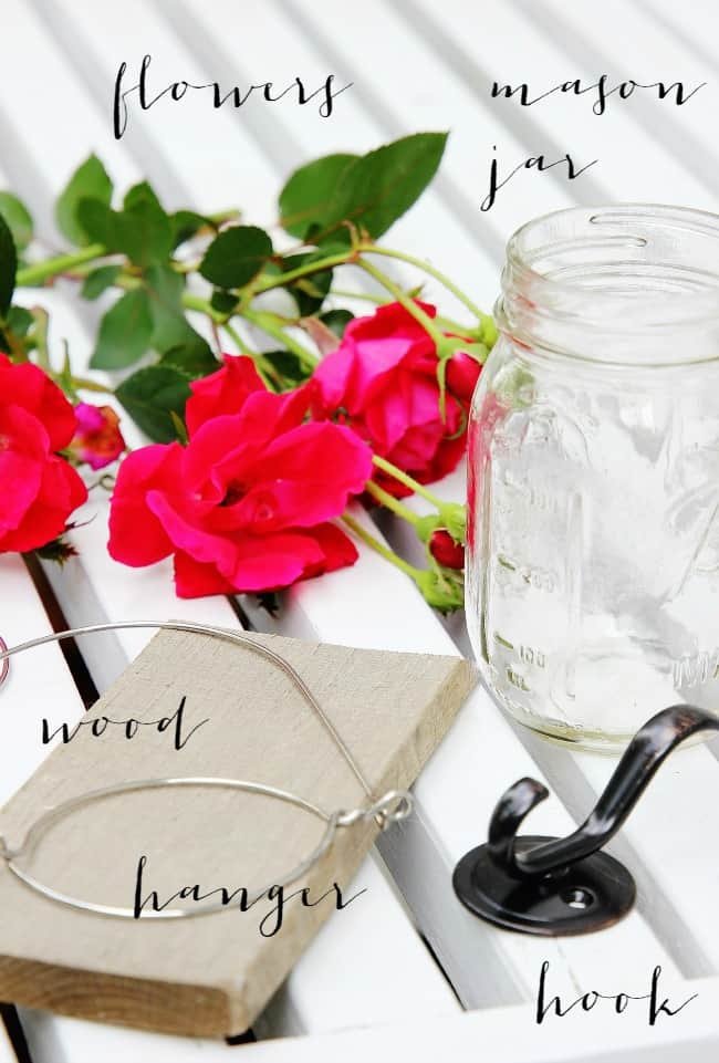 Here are the supplies you'll need to create your hanging mason jar