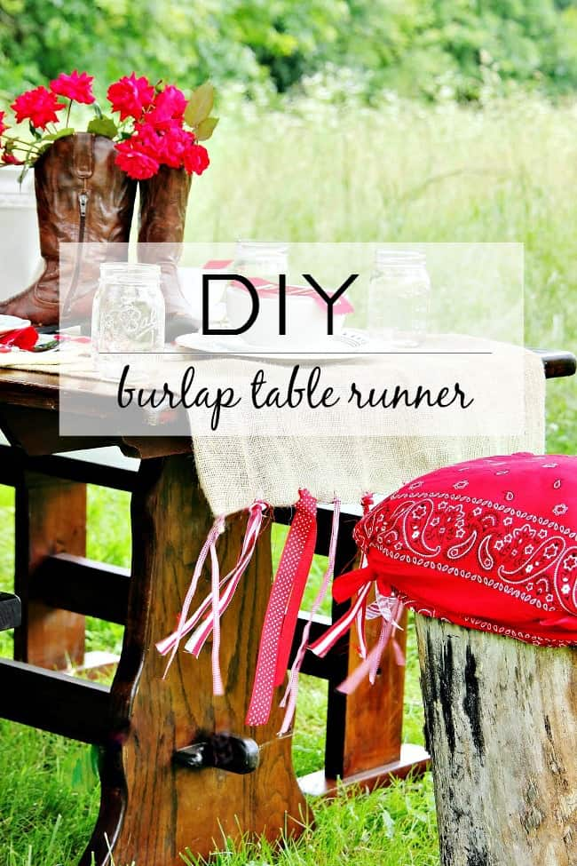 table runner diy project with burlap