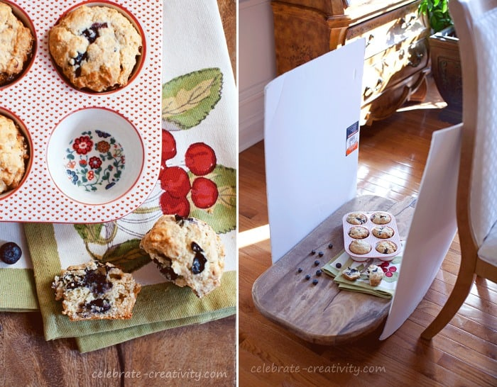 These muffins are brightened up by using foam boards to reflect light into the subject of the shoot