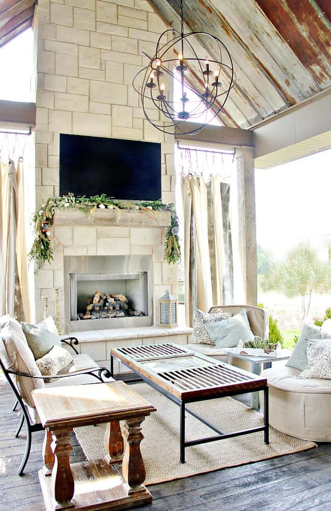 Covered Outdoor Spaces on Pinterest | Outdoor Living ... on Farmhouse Outdoor Living Space id=33891