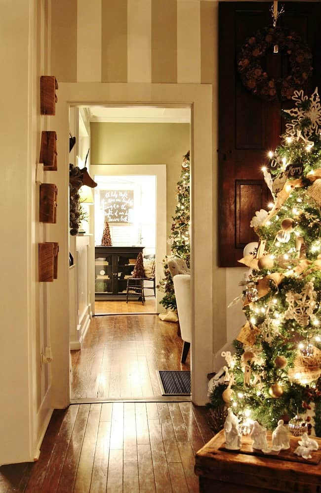 Christmas at night hallway