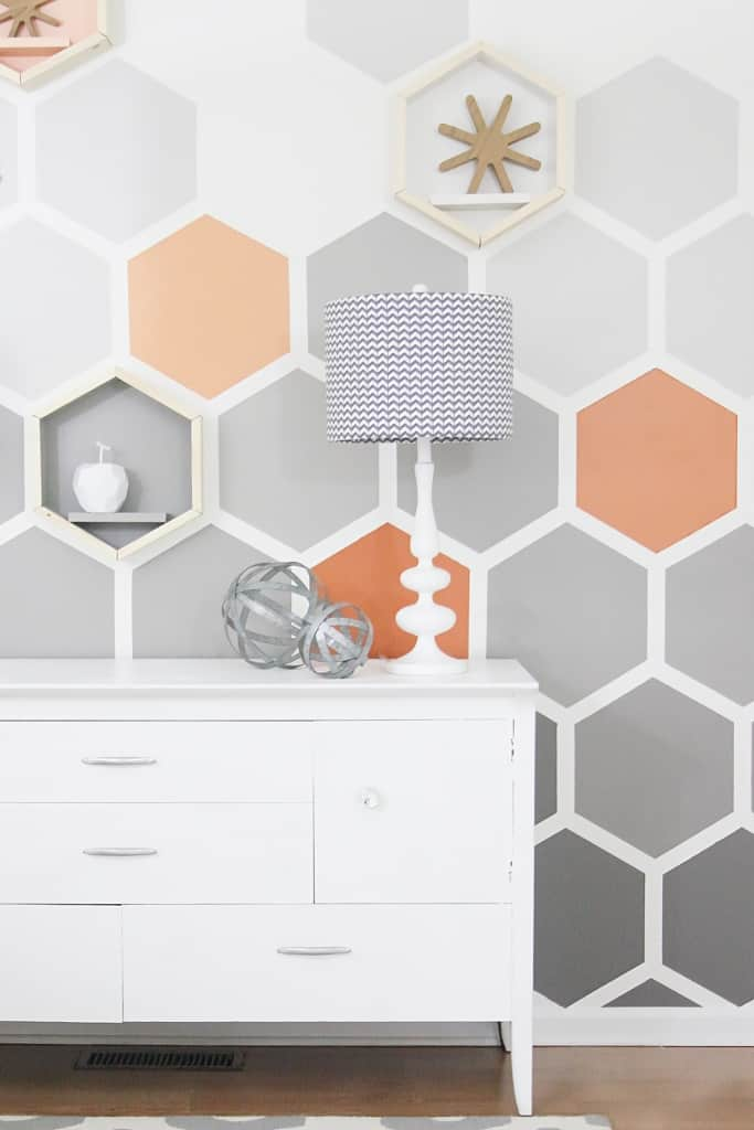 Before and after geometric hexagon wall