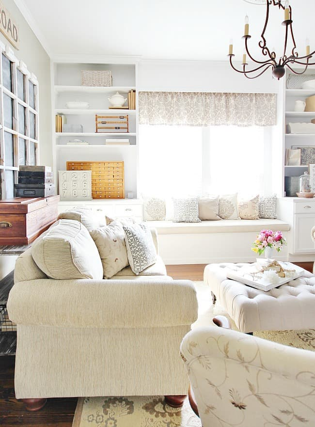 Farmhouse style decorating is easy to add to almost any room