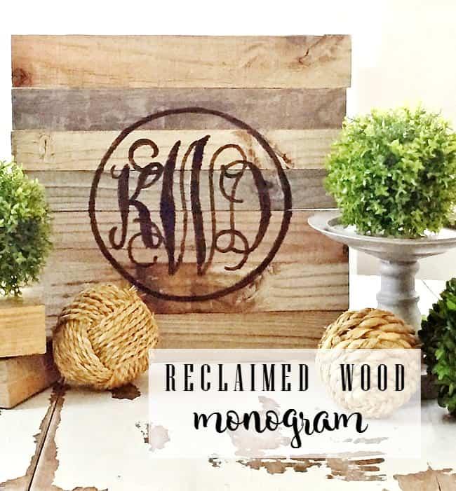 reclaimed wood monogram