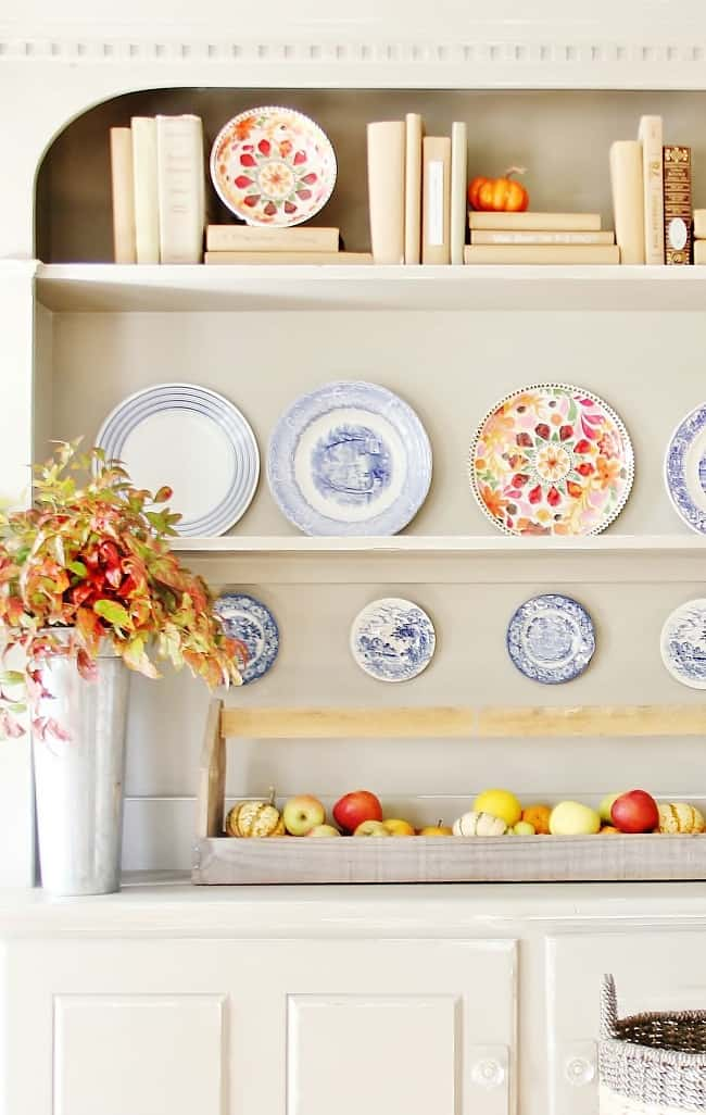 colorful-fall-hutch how to decorate a fall hutch