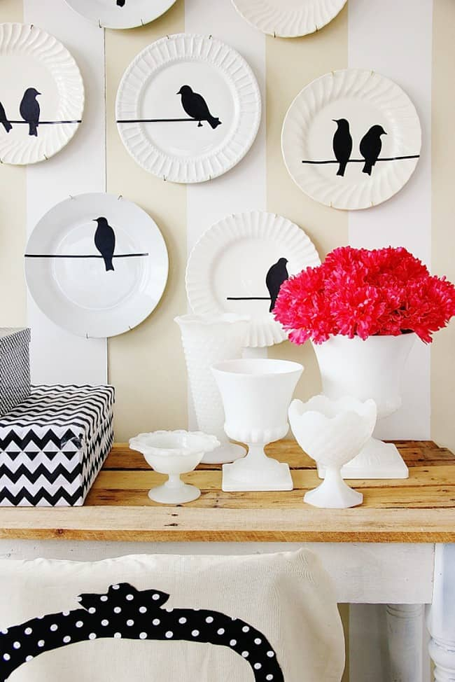 decorating with vintage finds bird plate wall