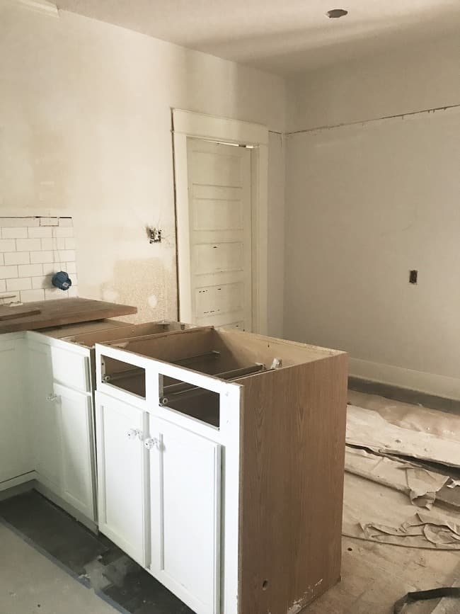 """Here's our """"during"""" kitchen, removing counters and walls."""