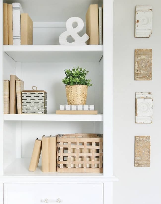 decorate your bookcase with covered books