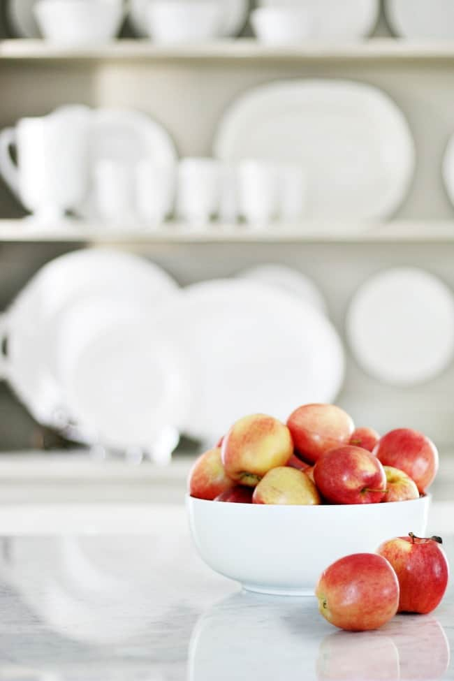 Apples in a white bowl