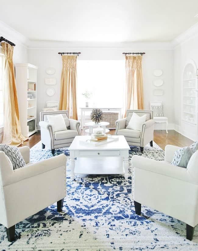 blue and white decor living room