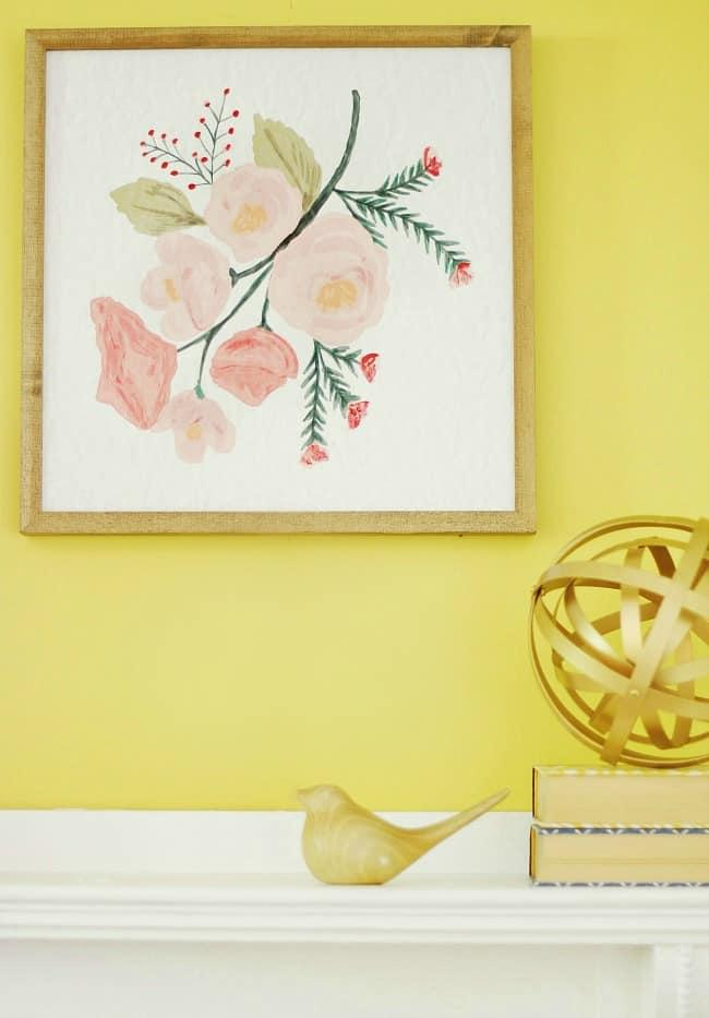 Wood framed pastel floral artwork