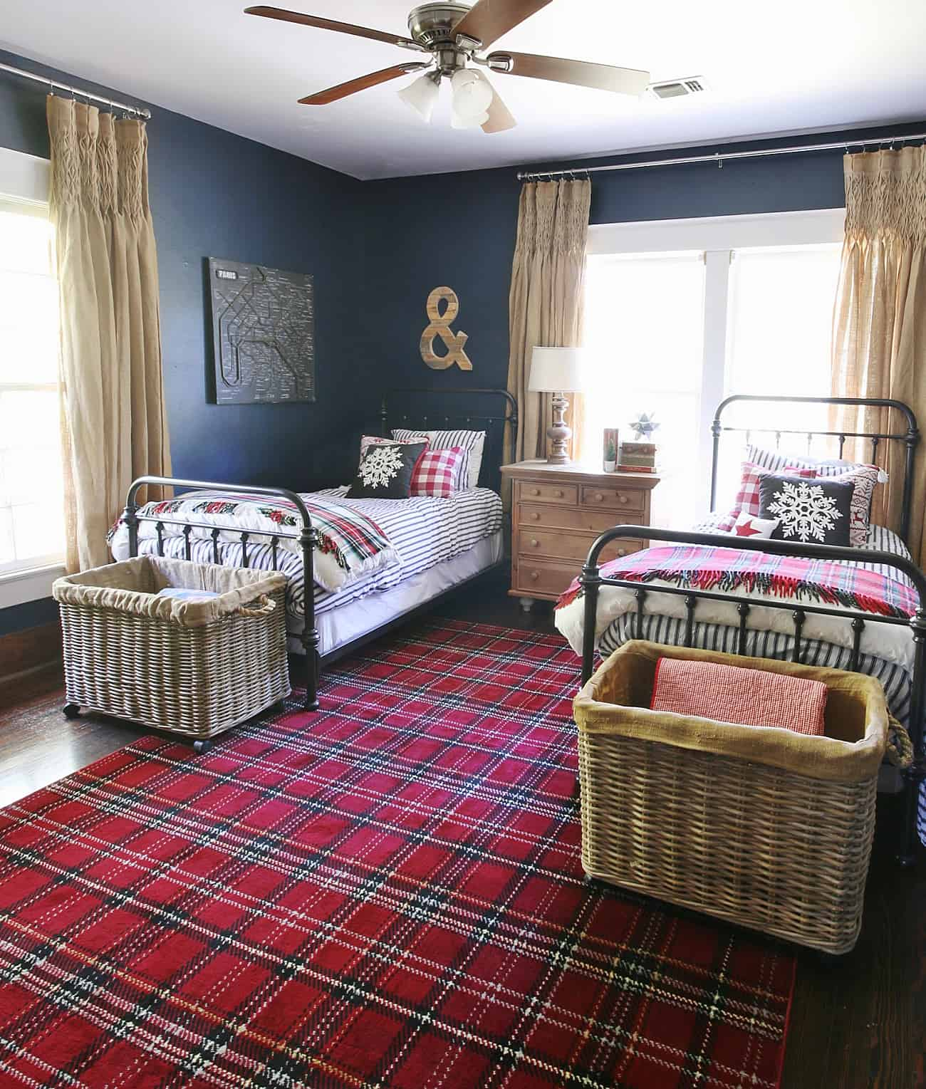 navy and red plaid bedroom