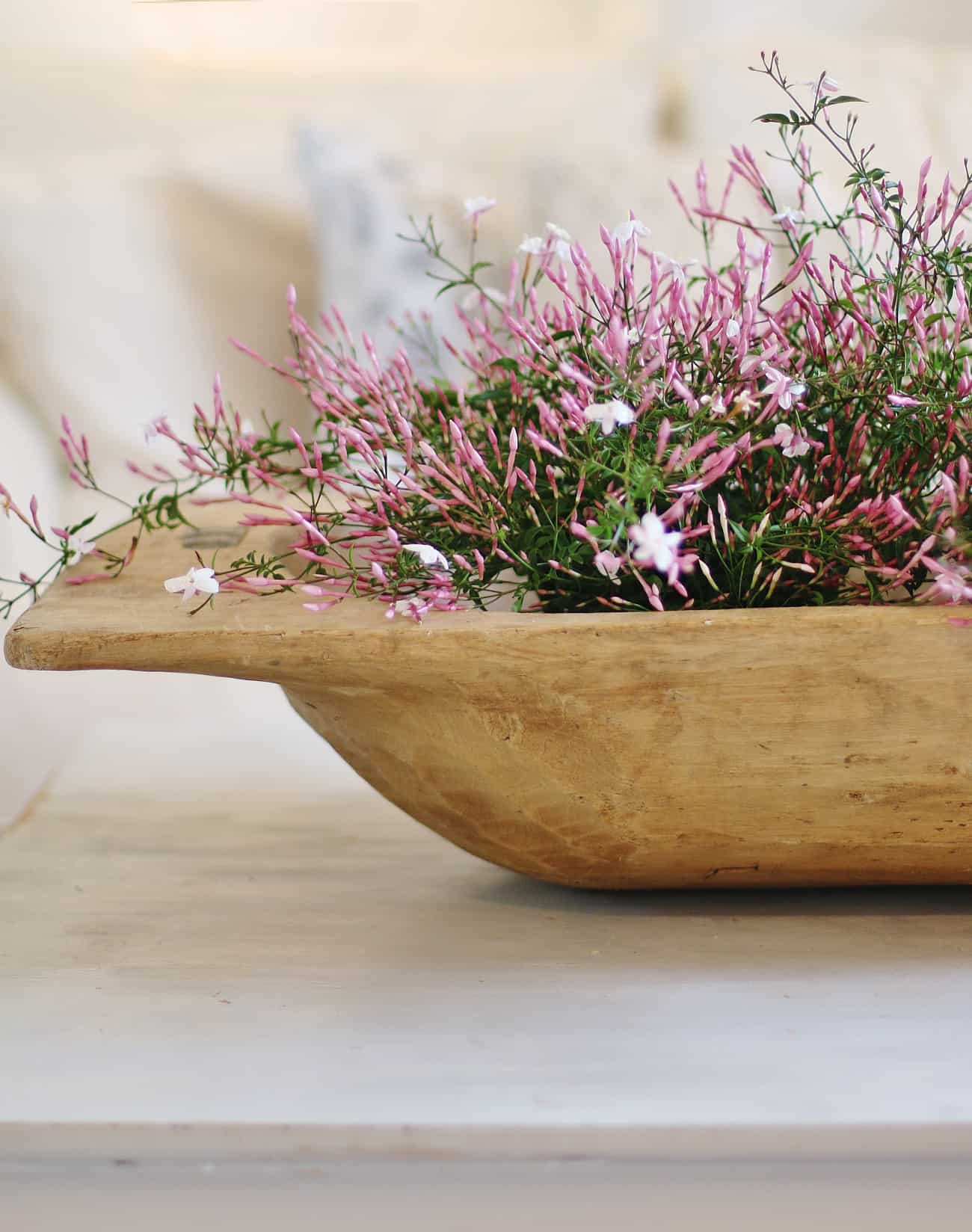 spring home tour flowers in dough bowl