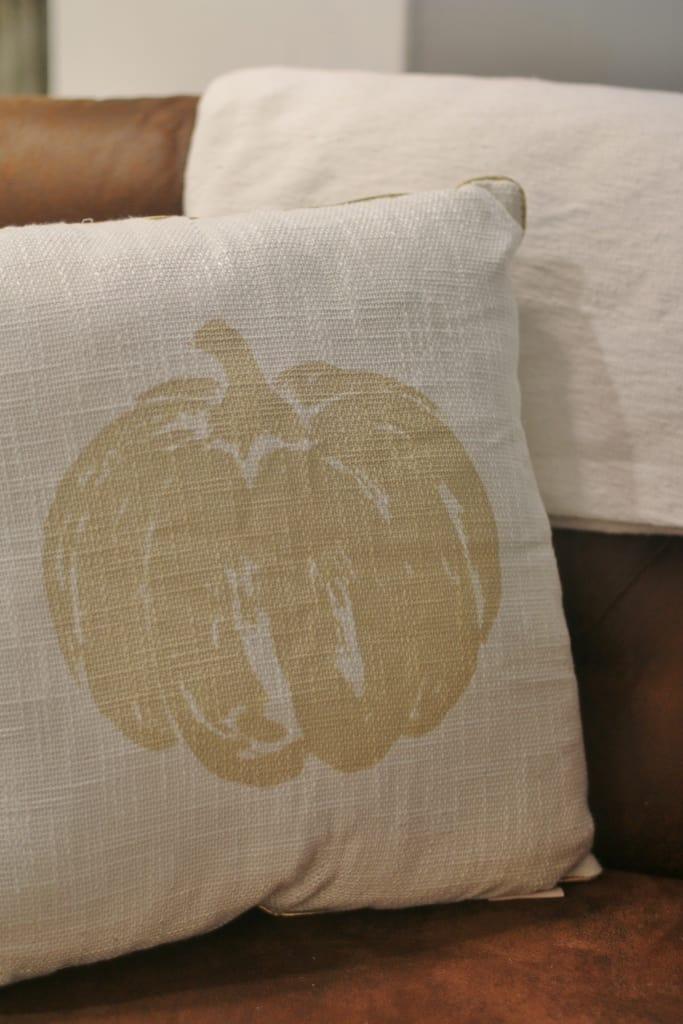 living room fall decor ideas pumpkin pillow