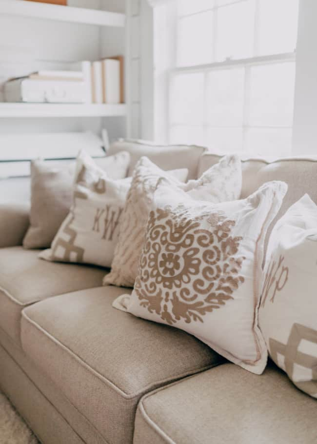 couch with decorated pillows