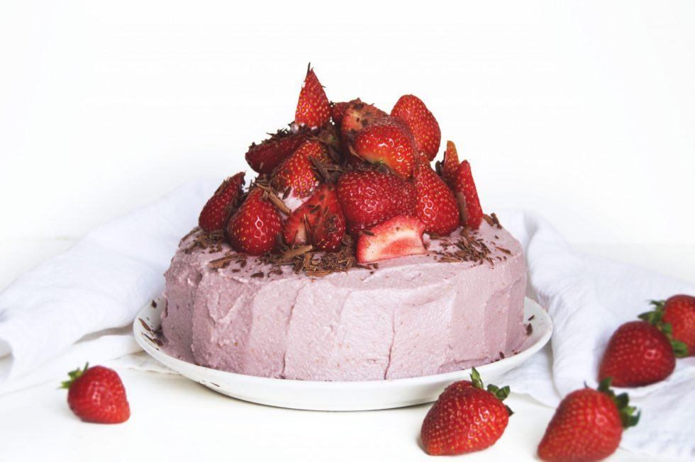 Vegan Strawberries & Cream Fudge Chocolate Cake