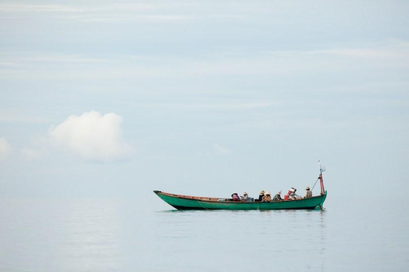A fishing boat enjoys tranquil seas near Koh Kong island on Cambodia's south coast.