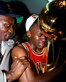 LOS ANGELES - 1991: Michael Jordan #23 of the Chicago Bulls celebrates with his father after winning the 1991 NBA Championship against the Los Angeles Lakers at the Forum in Los Angleles, CA. NOTE TO USER: User expressly acknowledges and agrees that, by downloading and or using this photograph, User is consenting to the terms and conditions of the Getty Images License Agreement. Mandatory copyright notice: Copyright NBAE 2002 (Photo by Andrew D. Bernstein/ NBAE/ Getty Images)