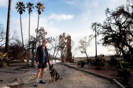 """Devo stands with his dog Rama- Devo stayed behind with her to try to save his property """" I fought hard but the beast won, we lost our house on Latigo, surrounded by burning buildings and foliage, I was trapped in the ... driveway I could only sit in the car for 4 hours and watch it all burn"""" """" as the gusting winds blew burning debris onto the car and a freshly filled 300 gallon propane tank erupted flames high into the air less than 50' away, the very real possibility of my dying in the melee was obvious and gently, fully accepted"""""""