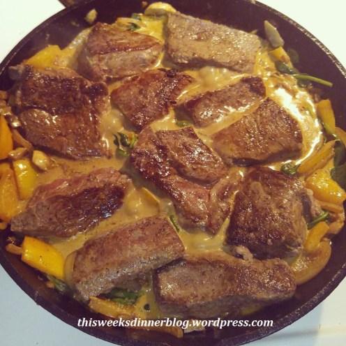 Beef Sirloin Steak with baby spinach