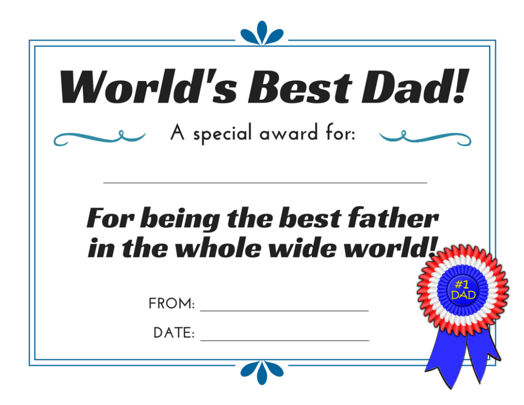World S Best Dad 3 Free Printable Certificates For Father