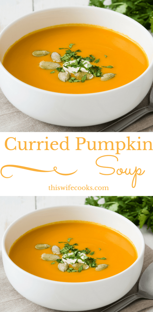 Vegan Curried Pumpkin Soup | Perfect with a salad for an easy lunch, this soup would also fit right in as a first course to Thanksgiving dinner. | thiswifecooks.com