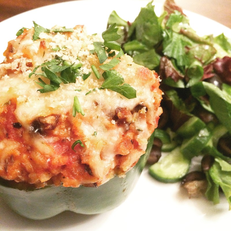 Italian-Style Stuffed Peppers with Spinach and Mushrooms | thiswifecooks.com