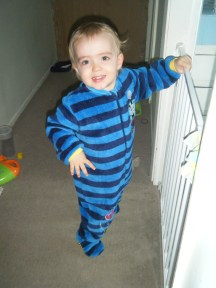 In his new Thomas the Tank Engine PJs