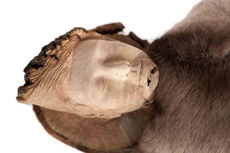 Wanda Gillespie, 'Seeker 2 (Kai)', detail, 2016, woodcarving (Ash), fur, fabric 1600 x 700 x 500 mm