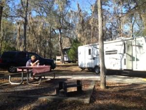 John having breakfast at General Coffee State Park