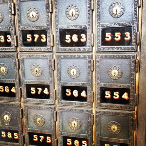 Mailboxes in the old Post Office