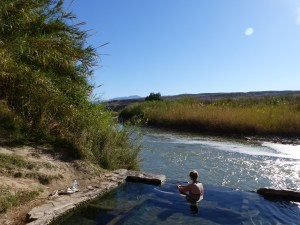 Enjoying the hot springs, and the Rio Grande