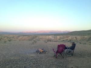 John enjoying his campfire at our free spot in Nevada