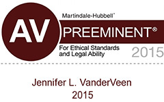 Jennifer L. VanderVeen, CELA, AV-rated by Martindale-Hubbell and peers for ethics and legal ability