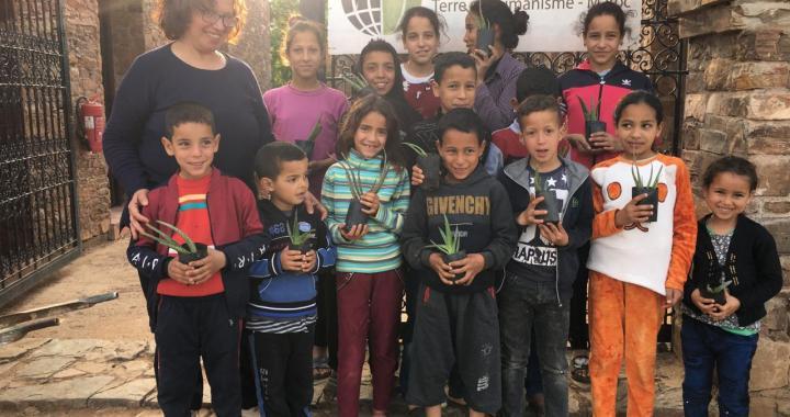 Atelier de sensibilisation au jeux pour les enfants de Douar Skoura, le 6 avril 2021 au CIPA-Pierre Rabhi