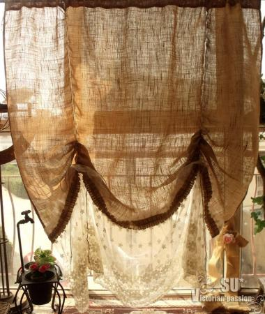 72X74 Balloon Tie Up Burlap Cream Lace Curtain Panel Shabby French Chic Ruffle EBay