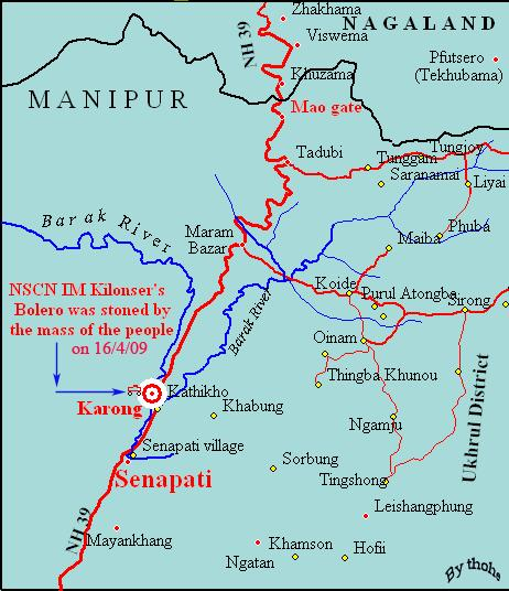 Map Showing where the NSCN-IM Kilonser's Bolero was stoned by the annoyed people
