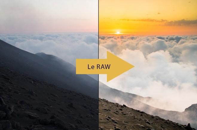 avant après sur un raw paysage coucher de soleil