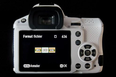 appareil photo montrant le menu de choix raw ou jpeg