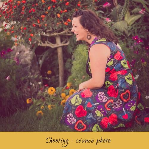image shoting photo avec modèle robe colorée